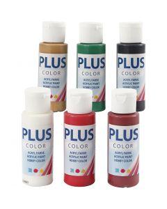 Plus Color hobbyfärg, Christmas färger, 6x60 ml/ 1 förp.