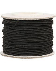 Elastiskt snöre, tjocklek 1 mm, svart, 25 m/ 1 rl.