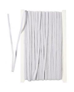 Resårband, B: 6 mm, vit, 50 m/ 1 rl.