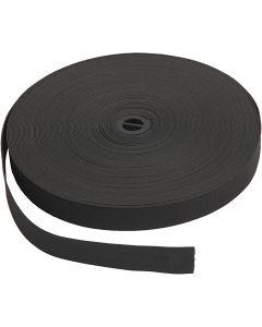 Resårband, B: 20 mm, svart, 25 m/ 1 rl.
