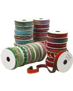 Dekorationsband - sortiment, B: 8-12 mm, blå, grön, rosa, röd, 64x1,8 m/ 1 förp.