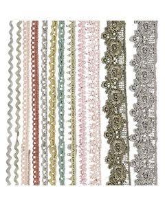 Dekorationsspetsar, B: 10-25 mm, mixade färger, 12x3 m/ 1 förp.