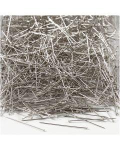 Knappnålar, L: 30 mm, tjocklek 0,55 mm, silver, 500 g/ 1 förp.