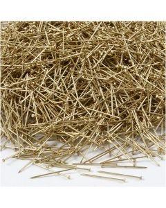 Knappnålar, L: 18 mm, tjocklek 0,6 mm, guld, 500 g/ 1 förp.