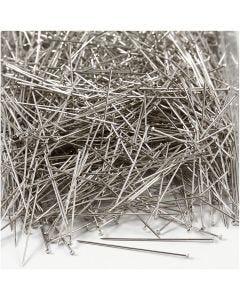 Knappnålar, L: 37 mm, tjocklek 0,7 mm, silver, 500 g/ 1 förp.