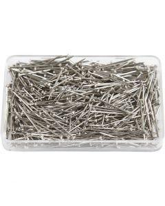 Knappnålar, L: 16 mm, tjocklek 0,65 mm, silver, 25 g/ 1 förp.