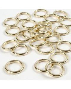 Plastring, stl. 15 mm, tjocklek 2 mm, guld, 25 st./ 1 förp.