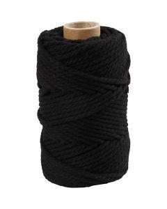 Makramégarn, L: 55 m, Dia. 4 mm, svart, 330 g/ 1 rl.