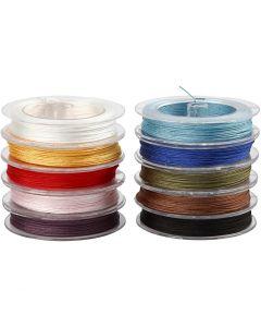 Polyestersnöre, tjocklek 1 mm, mixade färger, 10x50 m/ 1 förp.