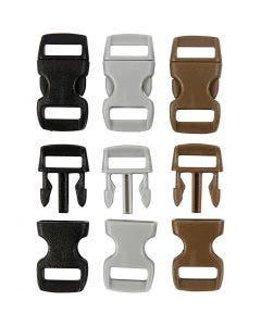 Klicklås, L: 29 mm, B: 15 mm, Hålstl. 3x11 mm, svart, brun, grå, 100 st./ 1 förp.