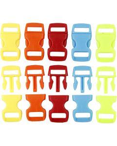 Klicklås, L: 29 mm, B: 15 mm, Hålstl. 3x11 mm, mixade färger, 100 st./ 1 förp.