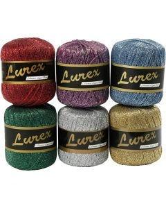 Lurex garn, L: 160 m, mixade färger, 6x25 g/ 1 förp.