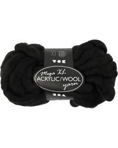 XL Akrylgarn med ull, L: 15 m, stl. mega , svart, 300 g/ 1 nystan