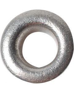 Öljetter, H: 3 mm, Dia. 8 mm, Hålstl. 4,8 mm, silver, 50 st./ 1 förp.
