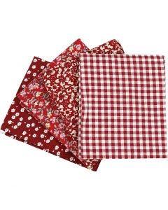 Patchworktyg, stl. 45x55 cm, 100 g, röd, 4 st./ 1 bunt