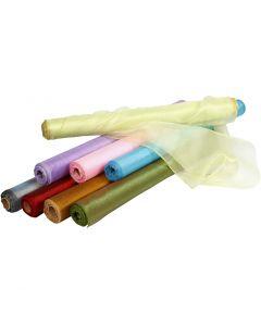 Organzatyg, B: 50 cm, blank, mixade färger, 10 m/ 1 rl.