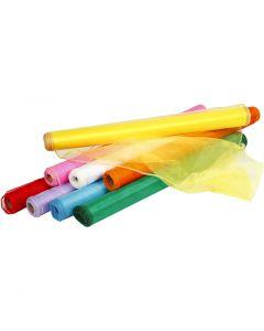 Organzatyg, B: 50 cm, mixade färger, 8x10 m/ 1 förp.