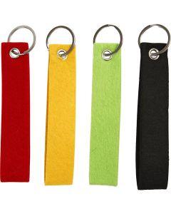 Nyckelband, stl. 3x15 cm, svart, grön, röd, gul, 4 st./ 1 förp.