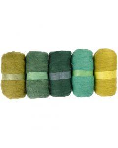 Kardad ull, grön, 5x100 g/ 1 förp.