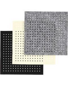 Filt med hål, tjocklek 3 mm, svart, grå, råvit, 3x4 ark/ 1 förp.