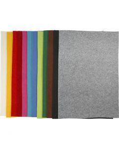 Hobbyfilt, 42x60 cm, tjocklek 3 mm, mixade färger, 120 ark/ 1 förp.