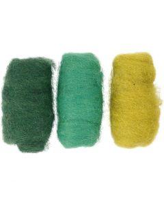 Kardad ull, grön/råvit, 3x10 g/ 1 förp.