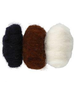 Kardad ull, svart/off-white/brun harmoni, 3x10 g/ 1 förp.