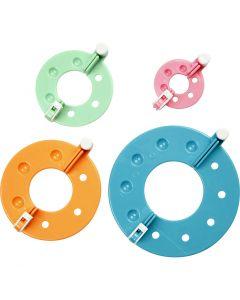 Pompomverktyg, Dia. 3,5+5,5+7+9 cm, 4 st./ 1 set
