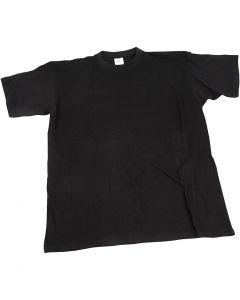 T-shirt, B: 40 cm, stl. 7-8 år, rund hals, svart, 1 st.