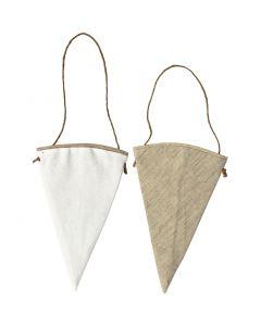 Textilfigurer, H: 18,5 cm, B: 12 cm, vit, ljusnatur, 6 st./ 1 förp.