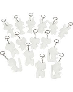 Textilfigurer med nyckelring, stl. 6-10 cm, vit, 15 st./ 1 förp.