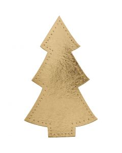 Julgran, H: 18 cm, B: 11 cm, 350 g, guld, 4 st./ 1 förp.