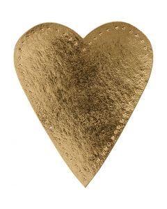 Hjärta, H: 12 cm, B: 10 cm, 350 g, guld, 4 st./ 1 förp.
