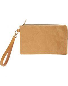 Clutch väska, H: 18 cm, L: 21 cm, 350 g, ljusbrun, 1 st.