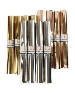 Läderpapper, B: 49 cm, tjocklek 0,55 mm, enfärgad,folie, guld, silver, rosa guld, 12x1 m/ 1 förp.