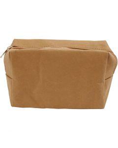 Sminkväska, stl. 16,5x6,5x10 cm, ljusbrun, 1 st.