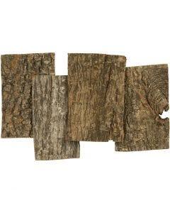 Barkskivor, stl. 9,5x6,5 cm, tjocklek 1-4 mm, 340 g/ 1 förp.