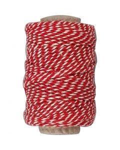 Bomullssnöre, tjocklek 1,1 mm, röd/vit, 50 m/ 1 rl.