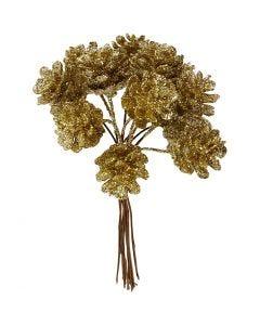 Konstgjorda kottar, Dia. 20 mm, guld, 12 st./ 1 förp.