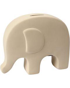 Sparbössa elefant, H: 14 cm, L: 16,7 cm, vit, 8 st./ 1 låda