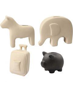 Sparbössor djur, H: 10-16 cm, svart, vit, 4x8 st./ 1 låda