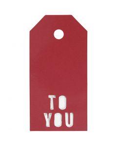 Manillamärken, TO YOU, stl. 5x10 cm, 300 g, röd, 15 st./ 1 förp.