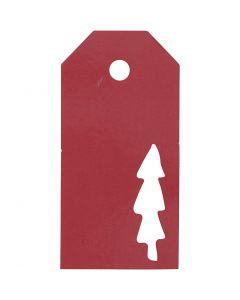 Manillamärken, Julgran, stl. 5x10 cm, 300 g, röd, 15 st./ 1 förp.