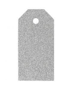 Manillamärken, stl. 5x10 cm, glitter, 300 g, silver, 15 st./ 1 förp.