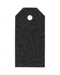Manillamärken, stl. 5x10 cm, glitter, 300 g, svart, 15 st./ 1 förp.