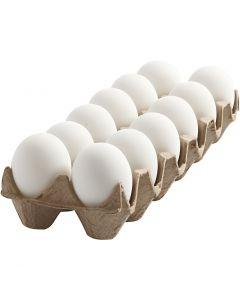 Ägg, H: 6 cm, vit, 12 st./ 1 förp.