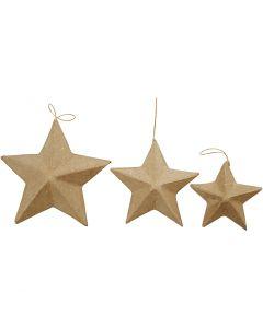 Stjärnor, Dia. 7,5+10+12,5 cm, 6 st./ 1 förp.