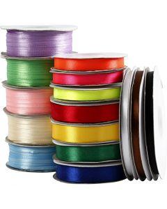 Satinband, sortiment, mixade färger, 15 rl./ 1 förp.