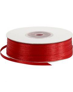 Satinband, B: 3 mm, röd, 100 m/ 1 rl.