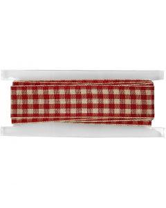 Rutigt band, B: 20 mm, gml. röd/vit, 2 m/ 1 rl.